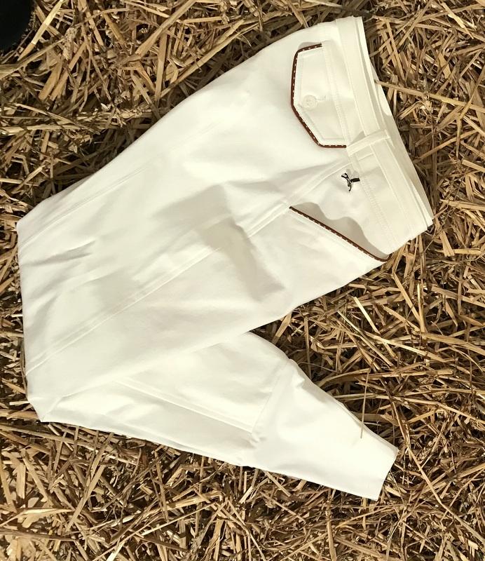 """Pantalon d'Equitation Blanc - """"Point Sellier"""" - Penelope Leprévost"""